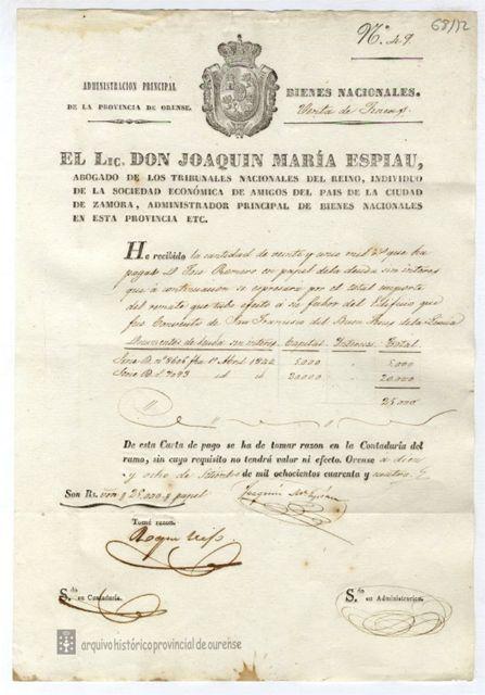 1843-1844, Ourense Carta de pagamento do expediente de venda do edificio do Convento de Bon Xesús da Limia Delegación do Ministerio de Facenda en Ourense, C-68/12
