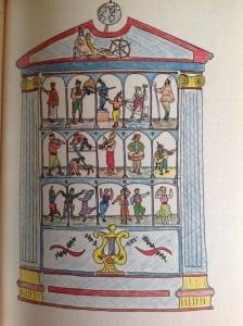 Reconstrucción ideal de la caja de autómatas descrita por su autor, realizada por Almudena Cabello, arquitecto.