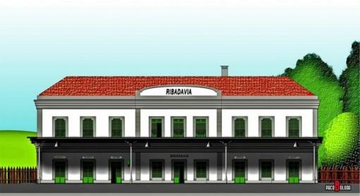 Estación de Ribadavia. Dibujo realizado por Paco Boluda.