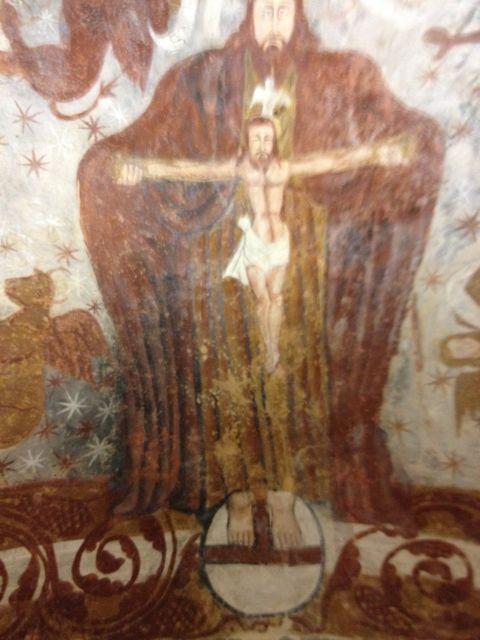 Representación pictórica de Dios Padre sosteniendo en sus manos a Cristo crucificado. FOTO: J.M.G.