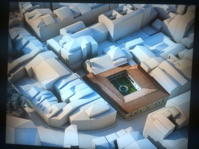 Curiosa reconstrucción virtual del convento de Santo Domingo, cuyo claustro ocupaba el espacio en el que hoy se asienta el edificio de Hacienda. FOTO: J.M.G.