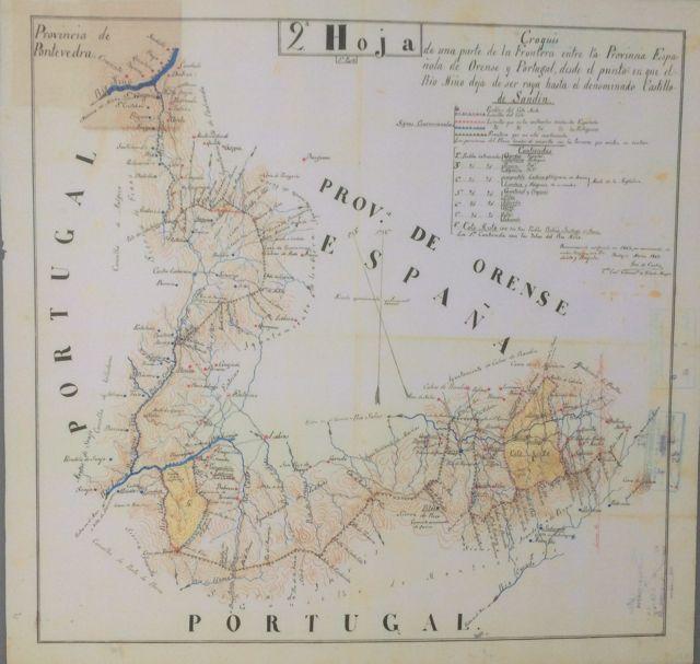Mapa de la frontera entre España y Portugal en tierras ourensanas. FOTO: J.M.G.