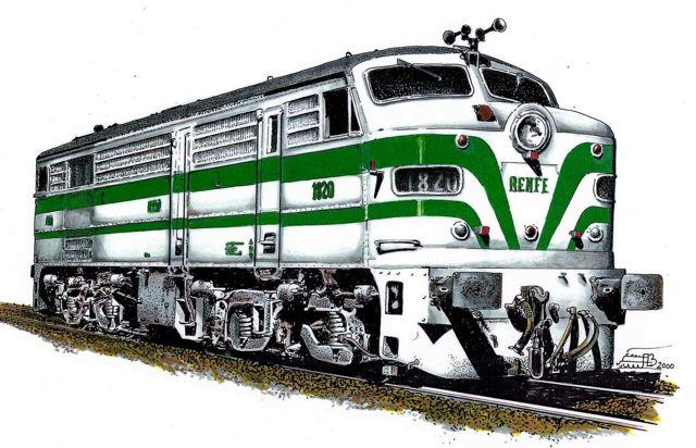Dibujo hecho por Paco Boluda de la locomotora con los colores de la librea originales.