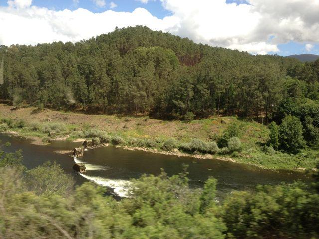Paisaje fluvial del Miño desde el tren a su paso por tierras de Arbo. FOTO: J.M.G.