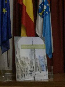 Portada del libro, ilustrado conun dibujo de Antonio Palacios mostrando parte de su plan urbanístico frente a la catedral ourensana.
